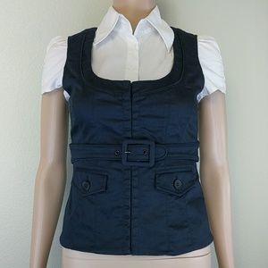 [INC] Belted Black Vest Short Sleeve Blouse 2P